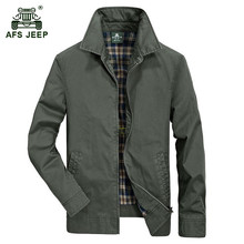 AFS JEEP 2017 Europe middle age men's autumn casual brand 100% cotton jacket khaki coat man spring jackets coats plus size M-4XL(China)
