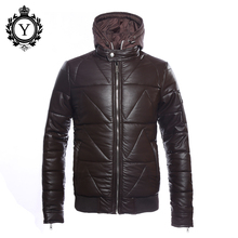 COUTUDI 2017 Hot Sale Men Winter Jackets Coffee PU Hooded Down Western Jacket Coats For Male Thick Windbreaker OEM Quality Coat(China)
