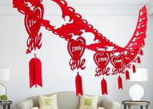 3m Long Chinese Character Wedding Accessories Red Double Happiness Part Decorations Valentine's Day Room Hanging Banner(China)