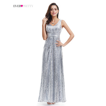 Gümüş uzun balo dress sparkle ever-pretty women 2017 ep07086 lüks kolsuz çift v yaka zarif pullu balo elbise