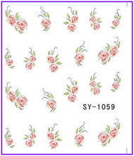 6 PACK/ LOT  GLITTER WATER DECAL NAIL STICKER FLOWER OLEANDER POT MARIGOLD CHINA ROSE SY1059-1064