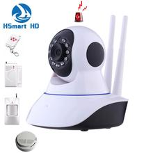 Mini 2.0MP 1080P HD Wireless WiFi P/T Onvif IR IP Camera Alarm System IR-CUT SD Card Baby Monitor Support PIR Smoke GAS Detector