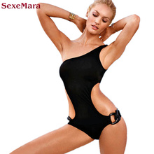 SexeMara Ring One Piece Swimsuit Solid One Shoulder Swimwear Women 2017 Sexy High Cut Swimwear female Bathing suit Monokini(China)