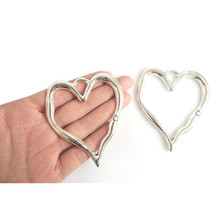 5pcs Large Antique Silver Open Heart Charms Pendants Jewelry Making Findings 79x67mm(China)
