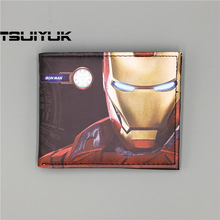 Dropshipping Marvel Comics Iron Man wallets Purse carteira masculina for Christmas gift Mix Hinged Card Case Wallet
