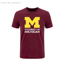 Summer Printed Michigan University American college baseball s jersey clothing short sleeve t shirt tee top(China)