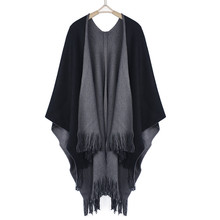 Feitong 2017 Winter Women Loose Overwear Coat Oversized Knitted Cashmere Poncho Capes Duplex Shawl Cardigans Sweater With Tassel