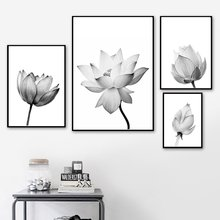 Lotus flower art promotion shop for promotional lotus flower art on nature lotus flower bud wall art canvas painting nordic posters and prints black white wall pictures mightylinksfo