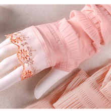 Lace Black white Pink beige long lady girl Sexy Disco dance driving anti uv fingerless long gloves arm warmer free shipping