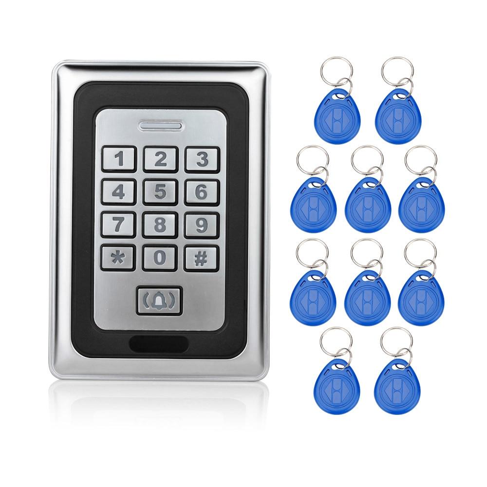 RFID Sliver Waterproof Metal Keypad Access Control System Door Locks For Security Control ID Card Reader Digital+10 key fobs-K88<br>