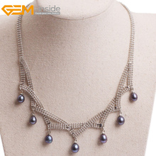 Women Pendant Necklaces Natural Elegant Freshwater Black Pearl Chain Pendant Necklace Leaf Tassel Jewelry 6-7MM