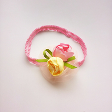 10pcs/lot Artificial Flower Stretch Headband Kid Rose Elastic Head Band Pink and Yellow Floral Hairbands Girl Birthday Head Wear