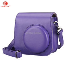 Leather Case Bag Purple with Shoulder Strap for Fujifilm Instax Mini 8/8S Camera, Free Shipping