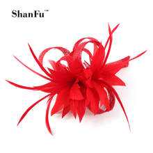 ShanFu Women Small Sinamay Fascinators Feather Flowers  Hair Clip Bridal Hair Accessories can be Brooch for Wedding SFB7092