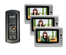 "Home safe intercom system , cheapest and top quality 7"" VIDOE DOOR PHONE Night vision HD camera 1 to 2(China)"
