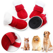 Cute Warm Winter Pet Dog Boots Puppy Shoes Protective Anti-slip Boots 4 Pcs(China)