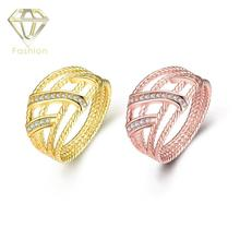 Bridal Store Hot Sale Cool Hollow Geometric Inlaid Cubic Zirconia Gold/Rose-gold Color Engagement Rings Fashion Women Jewellery