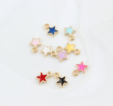 20pcs/lot Cute Gold color 6*9mm Enamel Star Charms ,Metal Colorful mini Star Pendant For DIY Jewelry Making