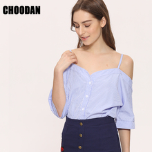 Off Shoulder Blouse Shirt Women Summer New Fashion Korean Style 2017 Sweet Slash Neck Tops Stripe Sexy Shirts Ladies Clothing(China)