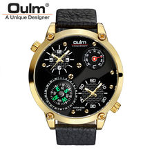 Unique Designer Thermometer Compass Military 2 Time Zone Double Movement Oulm Brand Real Mens Watches Gift Luxury reloj hombre