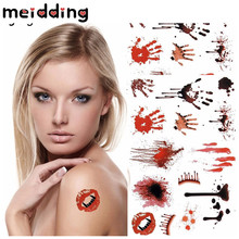 MEIDDING 4 Styles Collection Makeup Horror Scars Tattoo Stickers Vampire Bite Mark Halloween Party Masquerade Party Supplies(China)