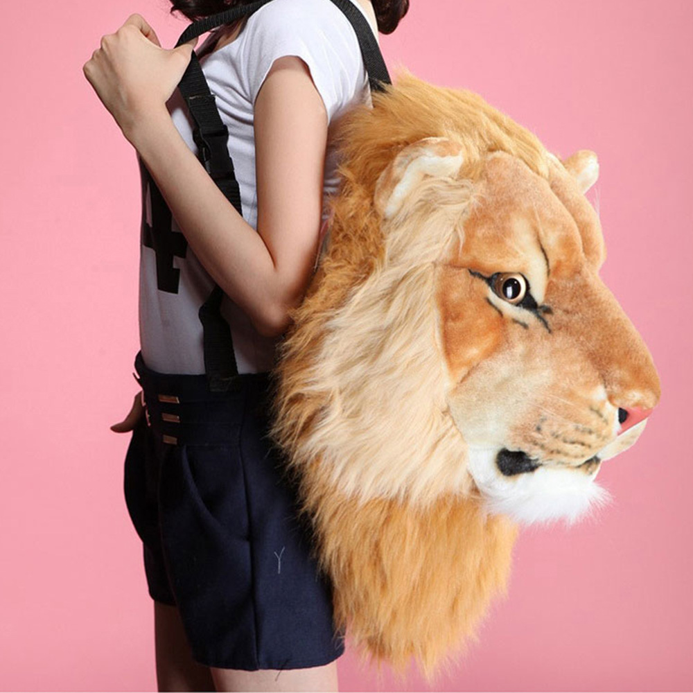 NEW 3D Animal Design Girls Backpack Tiger Lion Leopard Panda School Bags Luxury Women Chain Clutch Crossbody Shoulder Bags Purse