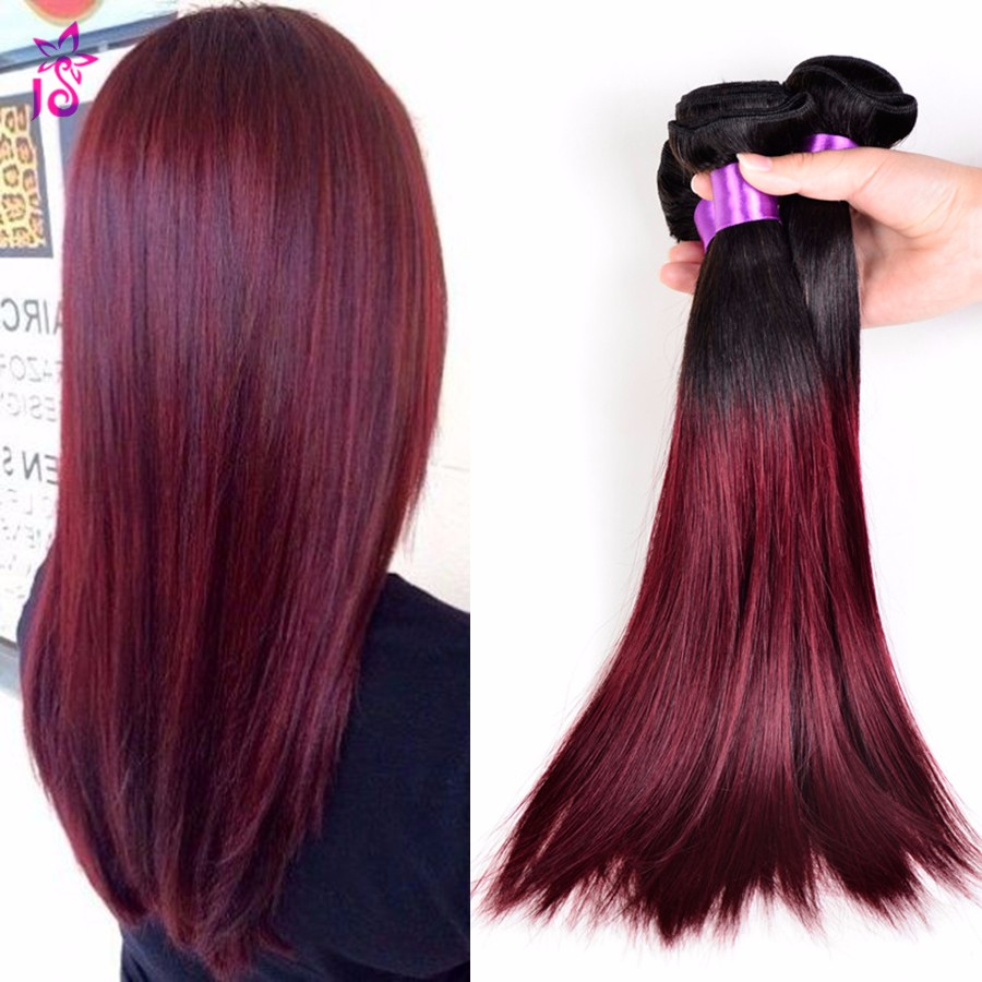 1B 99j Brazilian Virgin Hair Straight 4 Bundles Black To Burgundy Ombre Human Hair Extensions Peerless Straight Weave Remy Hair<br><br>Aliexpress