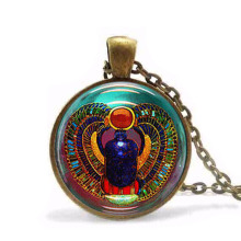 VINTAGE Scarab Necklace Glass Tile Pendant Egyptian necklace jewelry steampunk mens chain women fashion charm Doctor Who HZ1