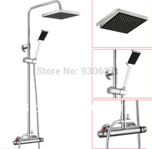 Fashion Wall Mounted Shower Tap Chrome Polished Brass Thermostatic Bath & Shower Faucet Mixer Tap