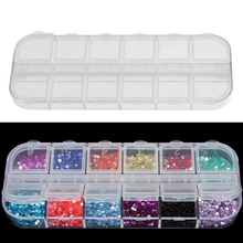 Mini 12 Grids Nail Art Box Empty Divided Case Rhinestone Beads Gems Storage Box Case Clear Plastic Organizer