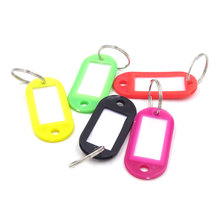 50Pcs Plastic Keychain Blanks Key Ring Diy Name Tags For Baggage Paper Insert Luggage Tags Mix Color Key Chain Accessories