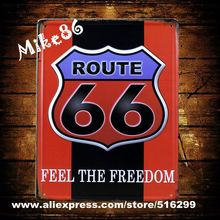 [ Mike86 ] Red Route66 Metal Painting House Tin Signs Wall Decor ART Retro Christmas Gift Mix Item 20*30 CM A-818