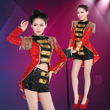 Fashion Female Modern Jazz Dance Costumes Nightclub Bar Red/Blue/ Sequins Stage Performances Women Sexy Slim Singer Costume(China)