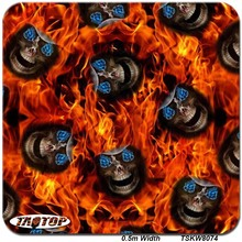 TAkw8074   0.5m*10m Popular Skull Blue Eyes  Flame Hydrographic Film  Water Transfer Printing Film Liquid Image