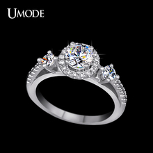 UMODE Royal Princess Crown Antique Mounting Design Three Cubic Zirconia Stone Halo Engagement Ring UR0151(China)
