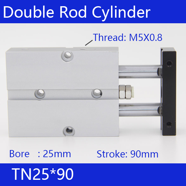 TN25*90 Free shipping 25mm Bore 90mm Stroke Compact Air Cylinders TN25X90-S Dual Action Air Pneumatic Cylinder<br>