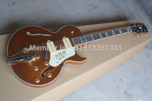Factory Custom Musical Instrument High Quality NEW P90 pickup Gold top ES125 Jazz Electric Guitar with Bigsby  140401