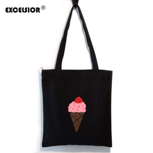EXCELSIOR Hot Design Ice Cream Pattern Tote Canvas Shopping Bag Foldable Zipper Handbag Beach Travel Ecofriendly Reusable Bags