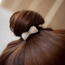 1 X Women Crystal Rhinestone Pearl Hairband Rope Elastic Ponytail Holder Bowknot Hair Band Accessories C338(China)