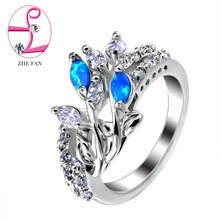 ZHE FAN White Blue Pink Fire Opal Rings Women Clear AAA CZ Cubic Zirconia Unique Trendy Engagement Party Gift Jewelry Ring
