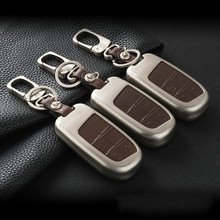 FUSU Zinc Alloy+Leather Car Key Cover Case Shell Bag For Jeep Renegade Patriot Grand Cherokee Car Key(China)