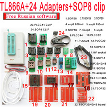 Free Russian software + Original Minipro TL866A programmer +24 adapter socket+SOP8 CLIP V6.6 Bios Flash EPROM EEPROM(China)