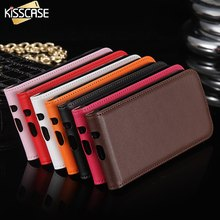 KISSCASE Genuine Leather Case For IPhone 4 4S Luxury Vertical Magnetic Flip Phone Accessories Cover cases for iphone 4 4s I4(China)