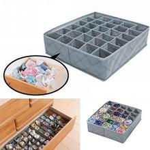 Home Atorage Box Organizer Flodable Non-woven Fabric Underwear Socks Drawer Organizer with 30 Cells Storage Boxes Cases(China)