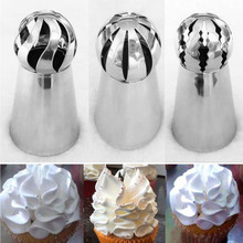 3PCS Stainless Steel Icing Piping Tips Nozzle Sphere Shape Russian Lcing Piping Nozzles Pastry Tips Decoration