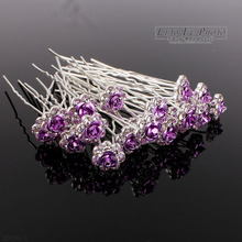 60PCS Wedding Accessories Bridal LG Purple Rose Hairpins Flower Crystal Rhinestone Hair Pins Clips Bridesmaid Women Hair Jewelry(China)