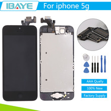 AAA Quality Screen For iPhone 5 LCD Display Touch Digitizer Pantalla Assembly Black for iphone 5g 5G +Home Button Camera