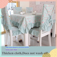 DS thicken dobby tablecloth dining table cloth elegant printed chair cover set cushion pink/green bow wedding decoration textile