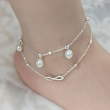 Boho Beach Sandal Barefoot Infinity Charm Bead Ankle Bracelet 2 Layers Anklet