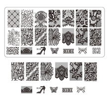 1pcs High Heel Image Stencils for Nails Stamping Plates Nail Art Equipment Tools NEW Lace Printing Nail Templates TRBC09(China)